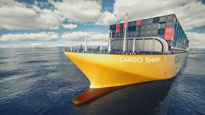 Фотография Море Корабли Контейнеровоз 3D Графика