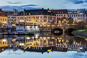 Обои Швеция Дома Речка Мосты Вечер Причалы Gothenburg город