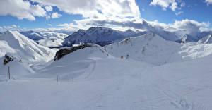 Фотография Швейцария Гора Зима Альп Снега Природа