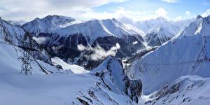 Фотография Швейцария Горы Зима Альпы Снег Природа