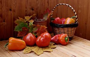 Фотография Помидоры Перец Доски Корзина Листья Продукты питания
