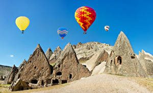 Фотографии Турция Скала Воздушный шар Cappadocia Природа