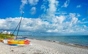 Фото США Побережье Небо Корабли Лодки Флорида Облако Пляже Природа