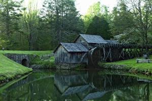 Картинки Америка Парки Реки Водяная мельница Blue Ridge Parkway Природа