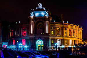 Фото Украина Одесса Здания Скульптуры Ночные Уличные фонари Opera house