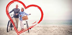 Картинка День святого Валентина Побережье Мужчины Двое Сердце Велосипед