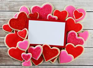 Фотография День всех влюблённых Печенье Доски Шаблон поздравительной открытки Сердце Дизайн Еда