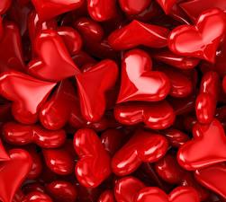 Картинка День всех влюблённых Много Сердце Красный 3D Графика