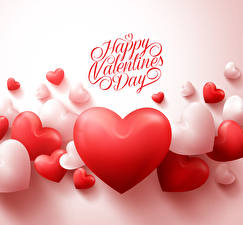 Картинка День святого Валентина Много Белый фон Английский Сердце