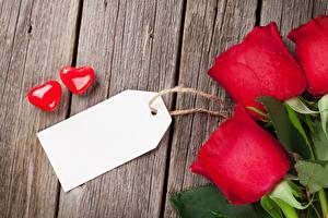 Фотографии День всех влюблённых Роза Доски Красных Шаблон поздравительной открытки Сердца Двое цветок