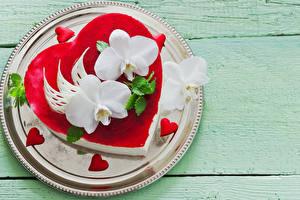 Фото День святого Валентина Сладкая еда Торты Орхидеи Доски Тарелка Дизайна Сердечко Еда