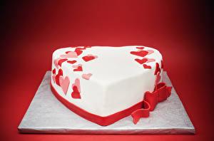 Фотография День святого Валентина Сладкая еда Торты Красный фон Дизайн Серце Пища