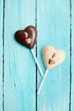 Фотография День всех влюблённых Сладости Конфеты Шоколад Доски Два Серце Дизайна Еда