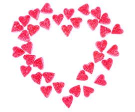 Фотографии День всех влюблённых Сладости Мармелад Белый фон Сердечко Розовый Пища