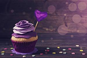 Фотография День святого Валентина Сладости Розы Капкейк кекс Доски Дизайн Сердечко Пища