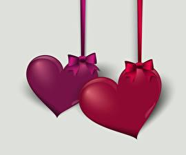 Фото День святого Валентина Векторная графика Серый фон Серце Двое Бант