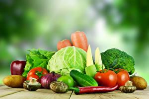Фото Овощи Капуста Томаты Огурцы Грибы Продукты питания