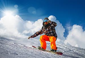 Картинка Зимние Мужчины Сноуборд Снег Спорт