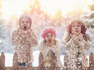 Обои Зима Втроем Мальчики Девочки Снег Руки Ребёнок
