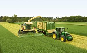 Картинка Сельскохозяйственная техника Поля Зерноуборочный комбайн Тракторы Krone BiG M, John Deere 6630 Premium