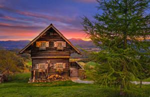 Картинка Австрия Здания Дизайн Ель Деревянный Magdalensberg Города