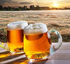 Фотография Пиво Кружка Двое Пена