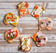 Картинка Бутерброды Хлеб Овощи Мясные продукты Сыры Доски Яйца