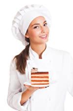 Картинка Пирожное Белым фоном Повар Улыбка Шапки молодые женщины