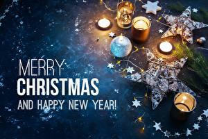 Фото Рождество Свечи Английский Звездочки