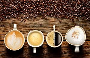 Фото Кофе Капучино Зерна Чашка Продукты питания