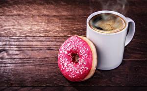 Картинки Кофе Пончики Доски Кружка Еда
