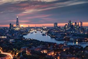 Фото Англия Речка Дома Вечер Лондон Города