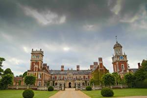 Обои Англия Дворец Газон Кусты Ограда Somerleyton Hall