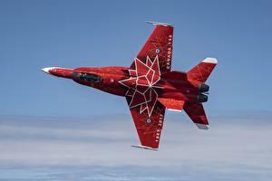 Картинки Самолеты Истребители Дизайн Красный CF-18 Авиация