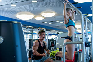Картинки Фитнес Мужчины Физические упражнения Девушки Спорт