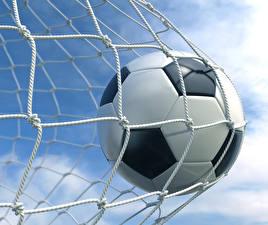 Фото Футбол Вблизи Мяч Сетка 3D Графика