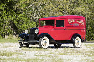 Фотографии Ford Старинные Красных 1933 Model 46 Panel Delivery авто