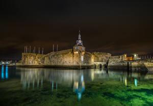 Фотография Франция Крепость Речка Ночные Concarneau Города