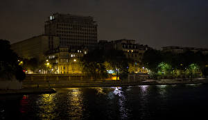 Фотографии Франция Здания Речка Париж Ночные