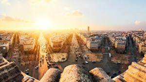 Картинка Франция Здания Рассветы и закаты Дороги Париж Улица Города