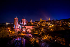 Картинки Германия Здания Дороги Ночь Bautzen Saxony Города