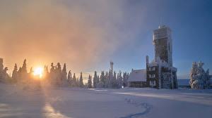 Фотография Германия Дома Зима Рассветы и закаты Снег Ель Seibelseckle Природа
