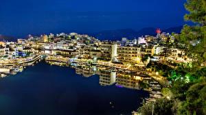 Обои Греция Здания Вечер Пирсы Залив Kreta Agios Nikolaos