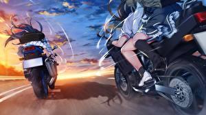 Обои Grisaia: Phantom Trigger Едущий Девушки Мотоциклы