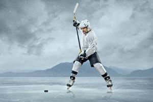 Фотография Хоккей Мужчины Униформа Льда Шлем Спорт