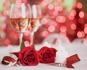 Фотография Праздники Роза Игристое вино Свечи Красный Бокалы Два цветок