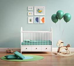 Обои Интерьер Детская комната Игрушки Дизайн Кровать Шар Подушки