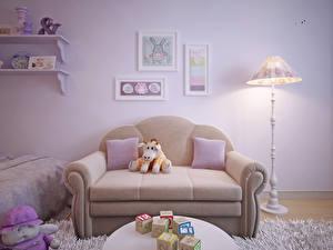 Фотография Интерьер Детская комната Игрушки Дизайн Диван Лампа