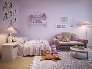 Картинка Интерьер Детская комната Игрушки Дизайн Диван Лампа Кровать