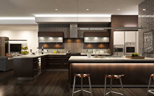 Картинки Интерьер Дизайн Кухня Стол 3D Графика